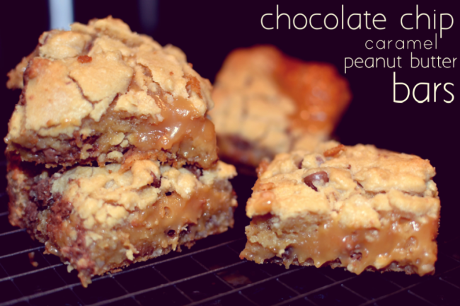 Chocolate Chip Caramel Peanut Butter Bars | Crumbs and Tea